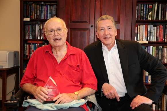 Rick Caldwell presents Lifetime Achievement Award to Dick Morley